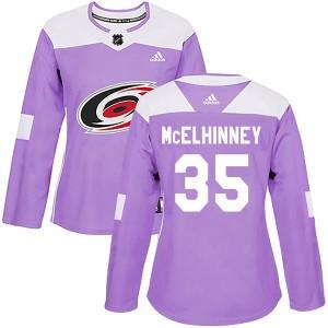 Curtis McElhinney Carolina Hurricanes Women's Adidas Authentic Purple Fights Cancer Practice Jersey