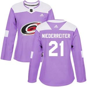 Nino Niederreiter Carolina Hurricanes Women's Adidas Authentic Purple Fights Cancer Practice Jersey