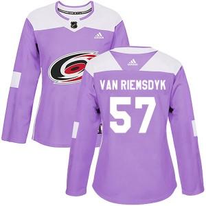 Trevor Van Riemsdyk Carolina Hurricanes Women's Adidas Authentic Purple Trevor van Riemsdyk Fights Cancer Practice Jersey