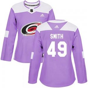 C.J. Smith Carolina Hurricanes Women's Adidas Authentic Purple Fights Cancer Practice Jersey