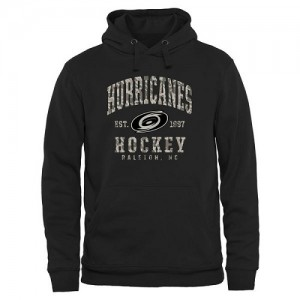 Carolina Hurricanes Men's Black Camo Stack Pullover Hoodie