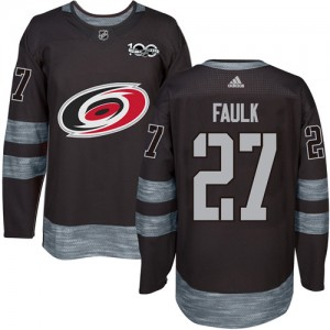 Justin Faulk Carolina Hurricanes Men's Adidas Authentic Black 1917-2017 100th Anniversary Jersey