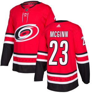 Brock Mcginn Carolina Hurricanes Men's Adidas Authentic Red Brock McGinn Jersey