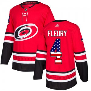 Haydn Fleury Carolina Hurricanes Youth Adidas Authentic Red USA Flag Fashion Jersey