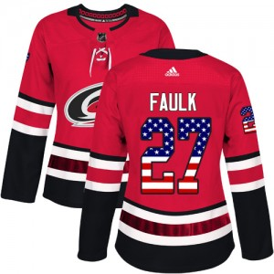 Justin Faulk Carolina Hurricanes Women's Adidas Authentic Red USA Flag Fashion Jersey