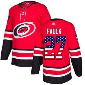 Justin Faulk Carolina Hurricanes Youth Adidas Authentic Red USA Flag Fashion Jersey