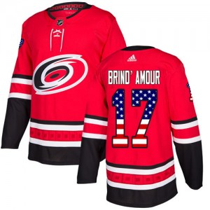 Rod Brind'Amour Carolina Hurricanes Youth Adidas Authentic Red USA Flag Fashion Jersey