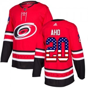 Sebastian Aho Carolina Hurricanes Youth Adidas Authentic Red USA Flag Fashion Jersey