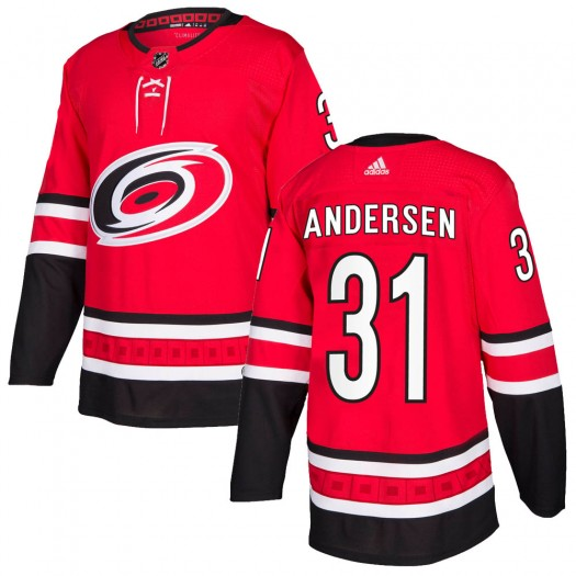 Frederik Andersen Carolina Hurricanes Men's Adidas Authentic Red Home Jersey