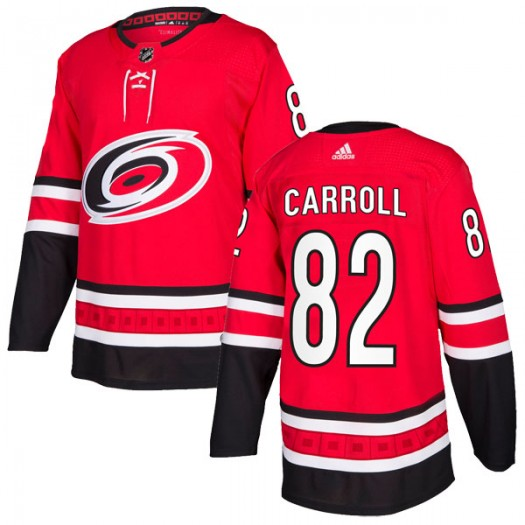 Noah Carroll Carolina Hurricanes Men's Adidas Authentic Red Home Jersey