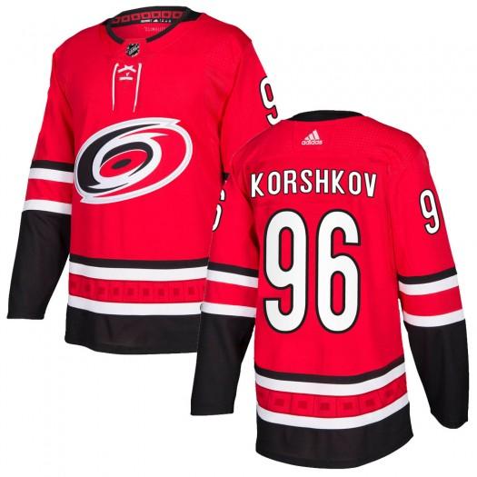 Egor Korshkov Carolina Hurricanes Men's Adidas Authentic Red Home Jersey