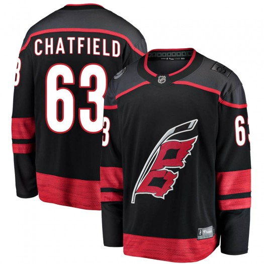 Jalen Chatfield Carolina Hurricanes Youth Fanatics Branded Black Breakaway Alternate Jersey