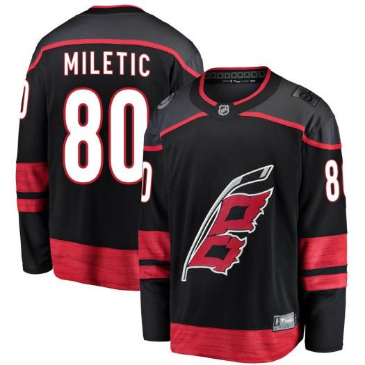Sam Miletic Carolina Hurricanes Youth Fanatics Branded Black Breakaway Alternate Jersey