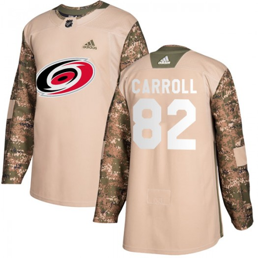 Noah Carroll Carolina Hurricanes Youth Adidas Authentic Camo Veterans Day Practice Jersey