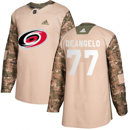 Tony DeAngelo Carolina Hurricanes Youth Adidas Authentic Camo Veterans Day Practice Jersey