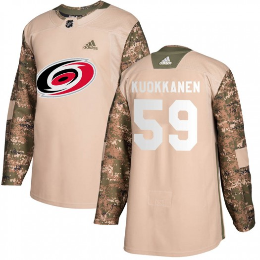 Janne Kuokkanen Carolina Hurricanes Youth Adidas Authentic Camo Veterans Day Practice Jersey