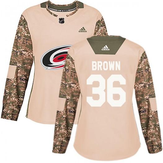Patrick Brown Carolina Hurricanes Women's Adidas Authentic Brown Camo Veterans Day Practice Jersey