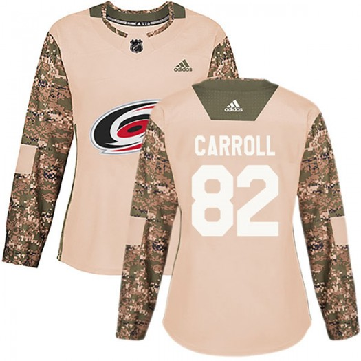 Noah Carroll Carolina Hurricanes Women's Adidas Authentic Camo Veterans Day Practice Jersey