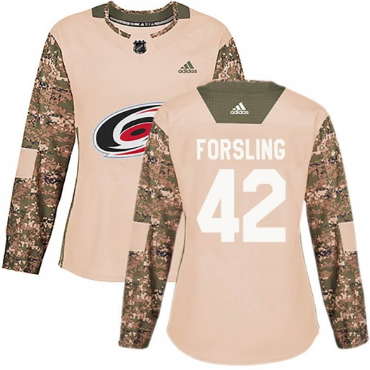 Gustav Forsling Carolina Hurricanes Women's Adidas Authentic Camo Veterans Day Practice Jersey