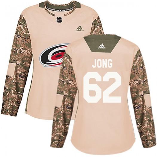 Brendan De Jong Carolina Hurricanes Women's Adidas Authentic Camo Veterans Day Practice Jersey
