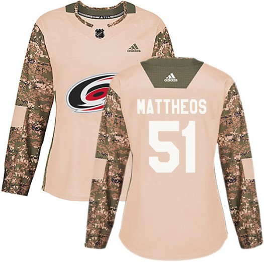 Stelio Mattheos Carolina Hurricanes Women's Adidas Authentic Camo Veterans Day Practice Jersey
