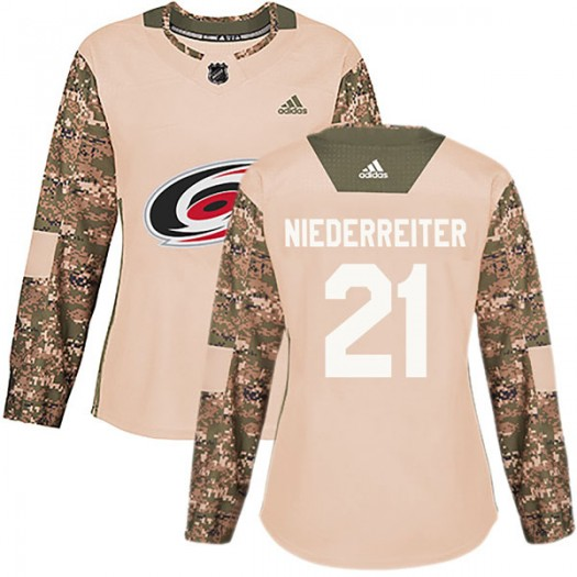 Nino Niederreiter Carolina Hurricanes Women's Adidas Authentic Camo Veterans Day Practice Jersey