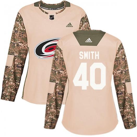 Jeremy Smith Carolina Hurricanes Women's Adidas Authentic Camo Veterans Day Practice Jersey