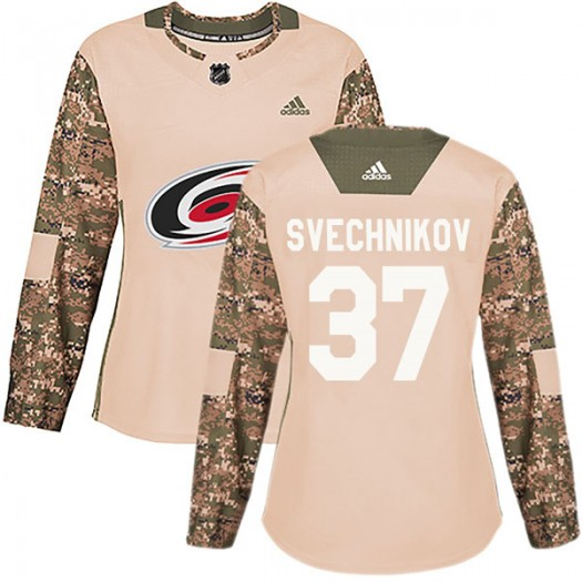Andrei Svechnikov Carolina Hurricanes Women's Adidas Authentic Camo Veterans Day Practice Jersey