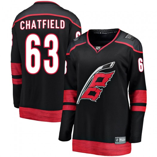 Jalen Chatfield Carolina Hurricanes Women's Fanatics Branded Black Breakaway Alternate Jersey