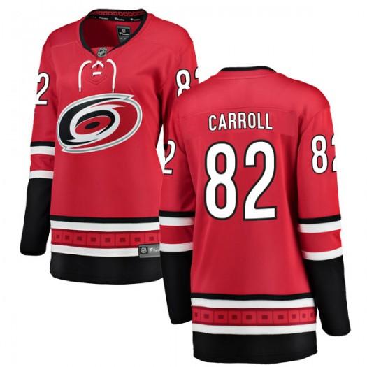 Noah Carroll Carolina Hurricanes Women's Fanatics Branded Red Breakaway Home Jersey
