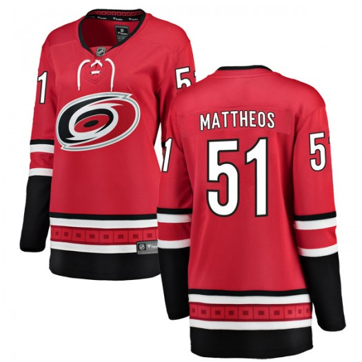 Stelio Mattheos Carolina Hurricanes Women's Fanatics Branded Red Breakaway Home Jersey