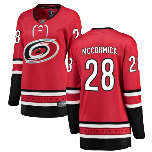 Max McCormick Carolina Hurricanes Women's Fanatics Branded Red ized Breakaway Home Jersey