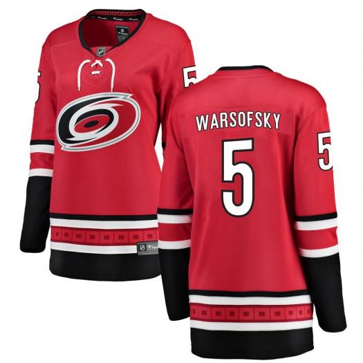 David Warsofsky Carolina Hurricanes Women's Fanatics Branded Red Breakaway Home Jersey