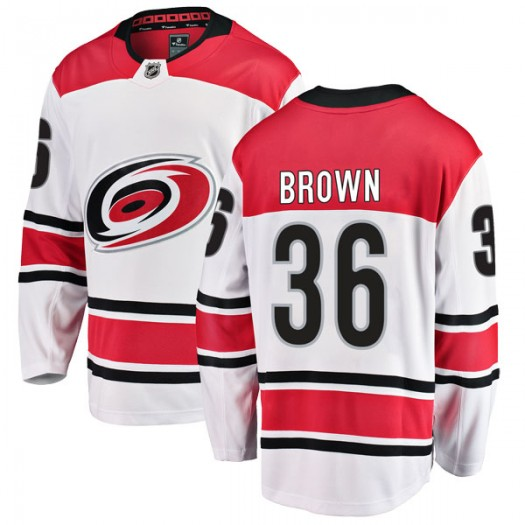 Patrick Brown Carolina Hurricanes Men's Fanatics Branded White Breakaway Away Jersey