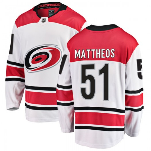 Stelio Mattheos Carolina Hurricanes Men's Fanatics Branded White Breakaway Away Jersey