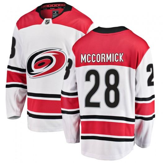 Max McCormick Carolina Hurricanes Men's Fanatics Branded White ized Breakaway Away Jersey