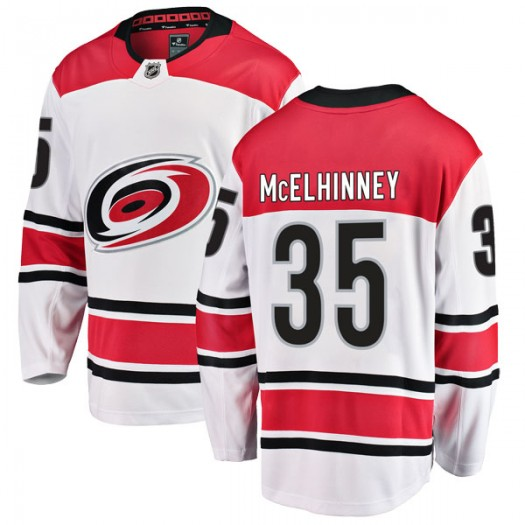 Curtis McElhinney Carolina Hurricanes Men's Fanatics Branded White Breakaway Away Jersey