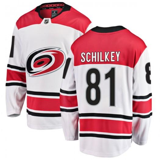 Nick Schilkey Carolina Hurricanes Men's Fanatics Branded White Breakaway Away Jersey