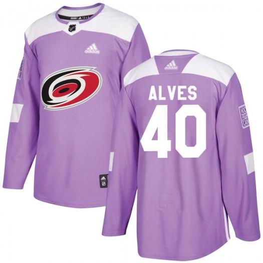 Jorge Alves Carolina Hurricanes Men's Adidas Authentic Purple Fights Cancer Practice Jersey