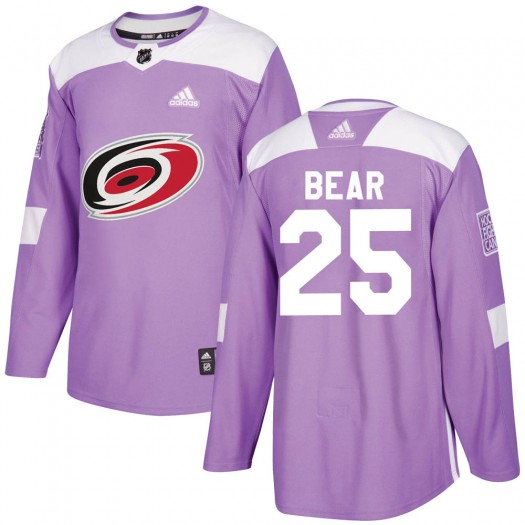 Ethan Bear Carolina Hurricanes Men's Adidas Authentic Purple Fights Cancer Practice Jersey