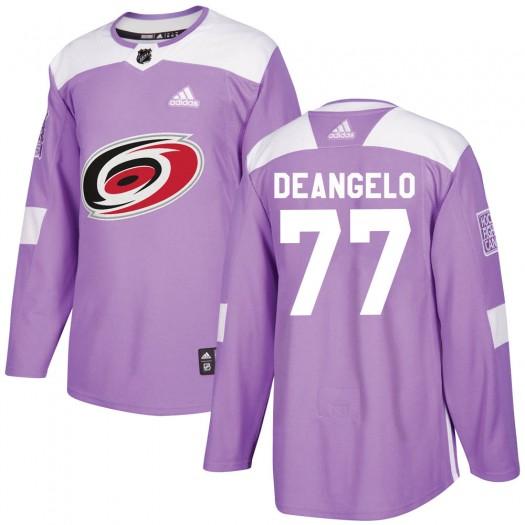 Tony DeAngelo Carolina Hurricanes Men's Adidas Authentic Purple Fights Cancer Practice Jersey