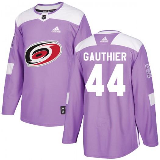 Julien Gauthier Carolina Hurricanes Men's Adidas Authentic Purple Fights Cancer Practice Jersey