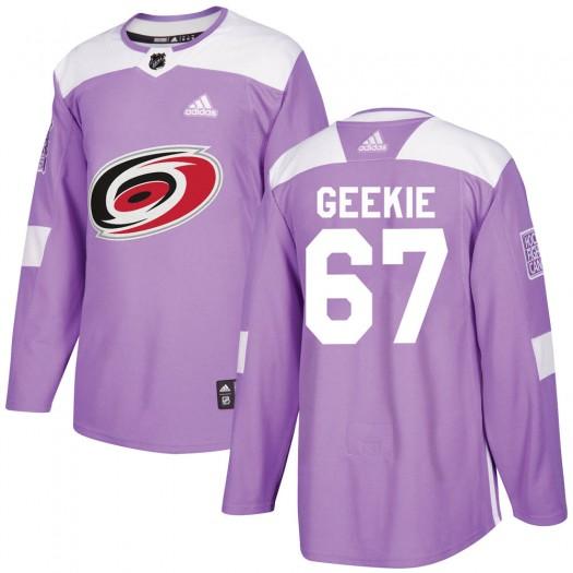 Morgan Geekie Carolina Hurricanes Men's Adidas Authentic Purple Fights Cancer Practice Jersey