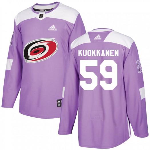 Janne Kuokkanen Carolina Hurricanes Men's Adidas Authentic Purple Fights Cancer Practice Jersey