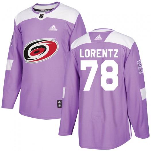 Steven Lorentz Carolina Hurricanes Men's Adidas Authentic Purple Fights Cancer Practice Jersey