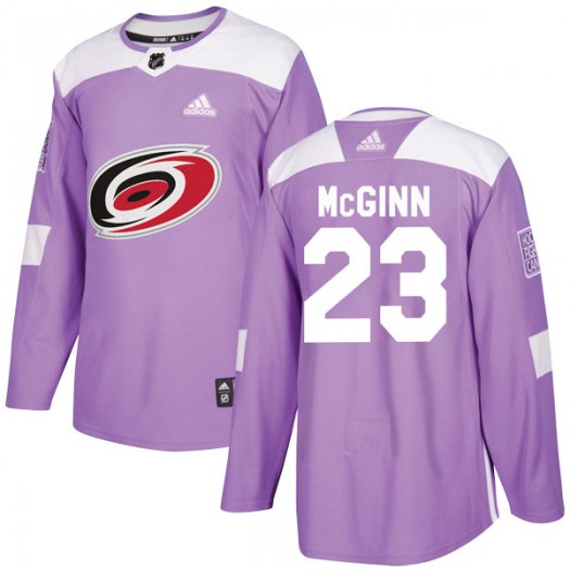 Brock Mcginn Carolina Hurricanes Men's Adidas Authentic Purple Brock McGinn Fights Cancer Practice Jersey