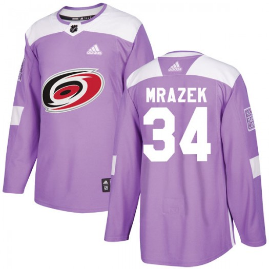 Petr Mrazek Carolina Hurricanes Men's Adidas Authentic Purple Fights Cancer Practice Jersey