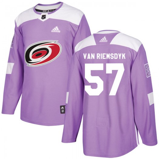Trevor Van Riemsdyk Carolina Hurricanes Men's Adidas Authentic Purple Trevor van Riemsdyk Fights Cancer Practice Jersey