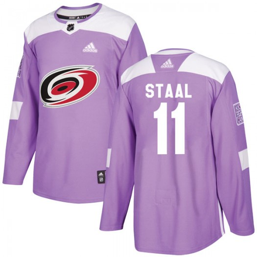 Jordan Staal Carolina Hurricanes Men's Adidas Authentic Purple Fights Cancer Practice Jersey