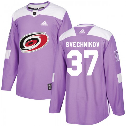 Andrei Svechnikov Carolina Hurricanes Men's Adidas Authentic Purple Fights Cancer Practice Jersey